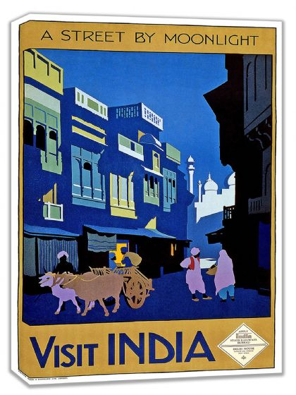 Visit India: A Street by Moonlight. Vintage Travel Canvas. Sizes: A4/A3/A2/A1 (002698)